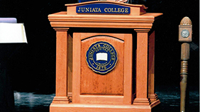 Juniata College Podium with College President
