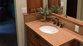 custom bathroom counter & cabinets